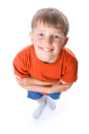 foreshortening: Amusing portrait of the boy with the crossed hands Stock Photo