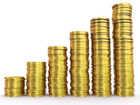 gold bar earn: Coins chart Stock Photo