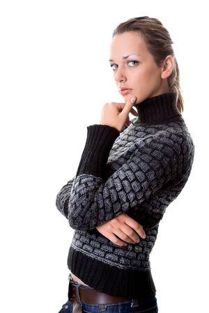 looking into camera: Preoccupato giovane donna in cerca fotocamera