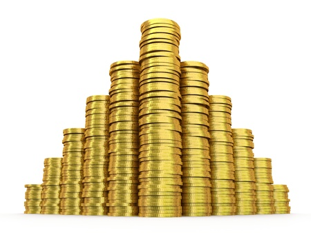 rouleau: Stacks of gold coins on a white background
