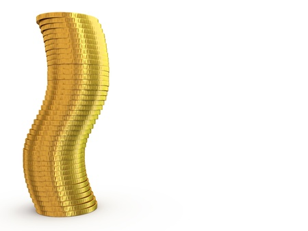 rouleau: Stack of Gold on a white background Stock Photo