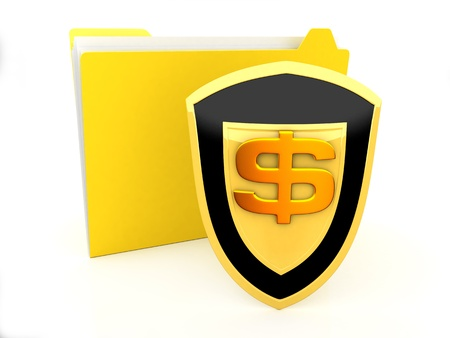 Security concept with dollar symbol on white photo