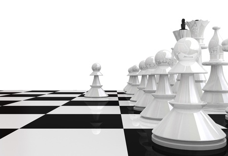 3D render White chess pieces photo