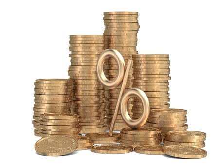 3d rendered stacks of golden coins with sign of percents isolated photo