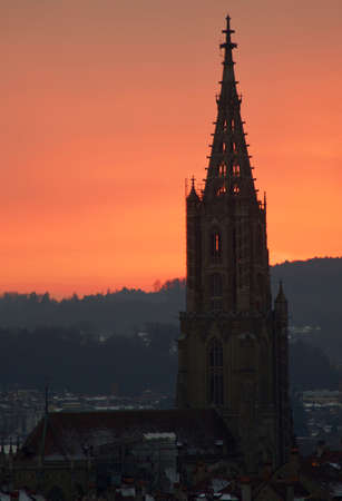 Gothic cathedral at sunset in Bern, Switzerland Banque d'images