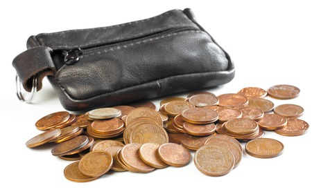 Change purse and coins over white background Stock fotó