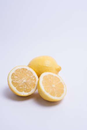 Closeup of lemon isolated on white background. Selective focus Stock Photo
