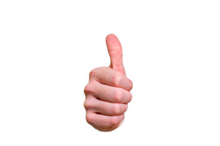 Closeup of male hand showing thumbs up sign against isolated on white background Stock Photo