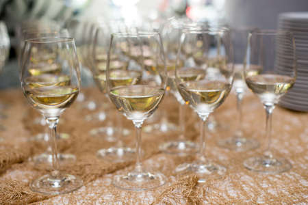 Refreshing White Wine in a Glass on a Background.
