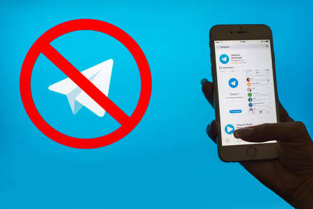 Ukraine, Dnieper - APRIL 26, 2018: Application Telegrams in a smartphone. Messenger Telegram wants to block in Russia