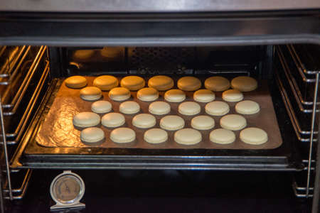 Baking macarons in the oven, cooking, baking