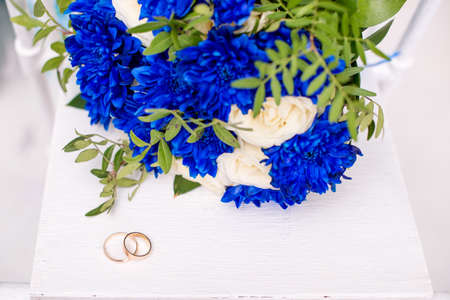 beautiful modern wedding bouquet on white table