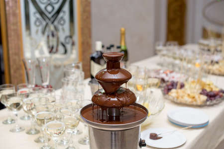 Chocolate Fountain And Fruits For Dessert At Wedding Table.