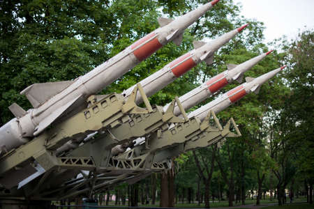 defense forces weapon. antiaircraft missles rockets with warhead aimed to the sky.