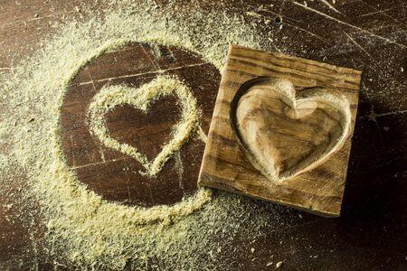 heart hard work: Wood in heart shape