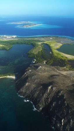 key of paradise: Aereal view of Los Roques island