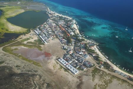 aereal: Aereal view of Los Roques island town Stock Photo