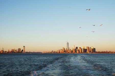 staten: New york, lower manhattan from staten island ferry