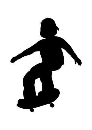Vector illustration of silhouette of skater Vector