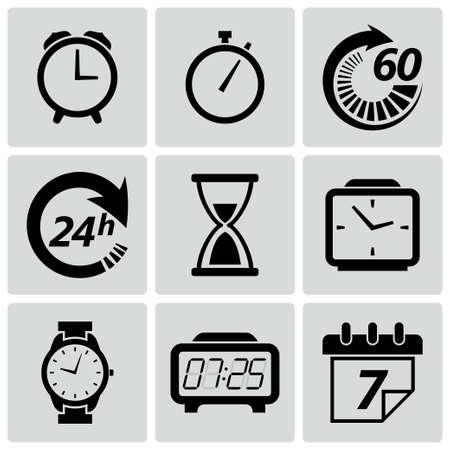 時計と時間のアイコン セットのベクトル イラスト