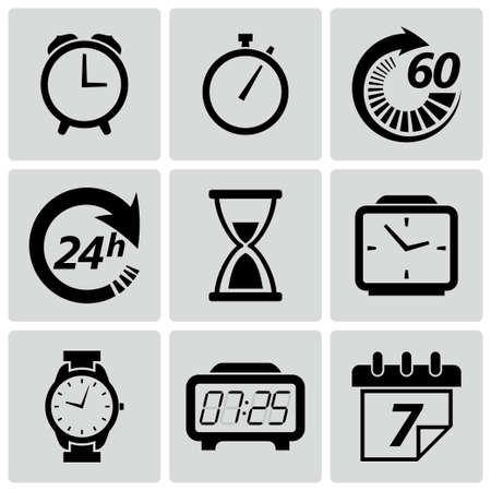 Ilustración del vector del reloj y la hora icon set