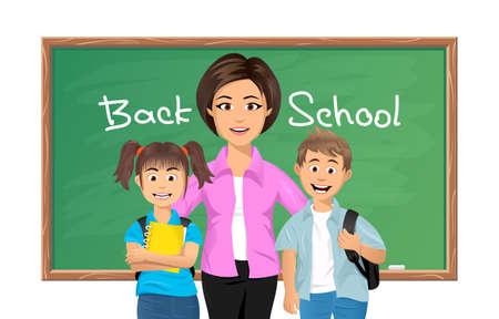 preschool teacher: illustration of Back to school, School teacher with schoolboy and schoolgirl