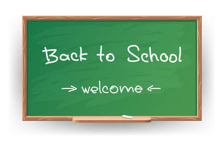 illustration of Back to school. Wrote in chalk on blackboard Vector