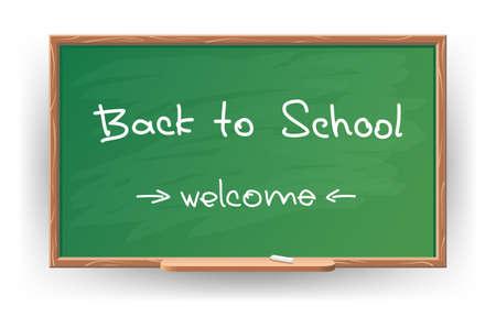 semester: illustration of Back to school. Wrote in chalk on blackboard