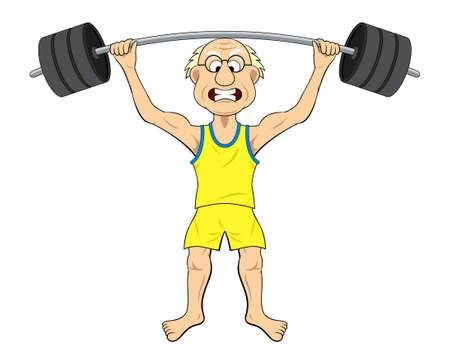 歳の男性の重量を持ち上げる