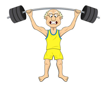weak: Old man lifting weight