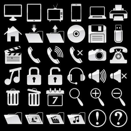 Set of web and media icons Ilustração