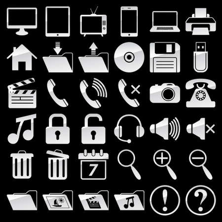 Set of web and media icons Illustration
