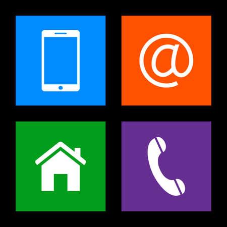 Contact met knoppen - mobiel, e-mail, huis, telefoon iconen Stock Illustratie