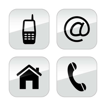 Contact Buttons Set Illustration