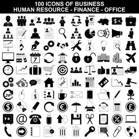 Business icons, human resource, finance and office set