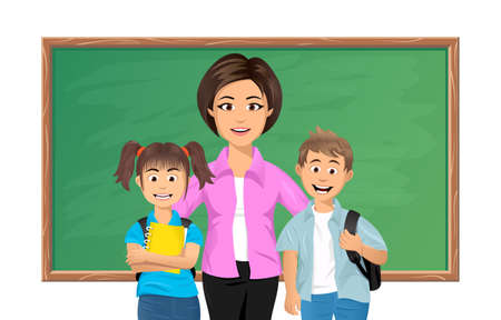 Back to school. Schoolteacher posing with her pupils in a classroom Vector
