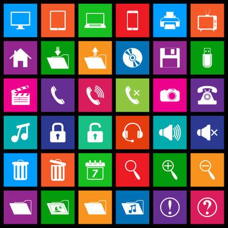 Media iconen in Flat Metro Style Stock Illustratie