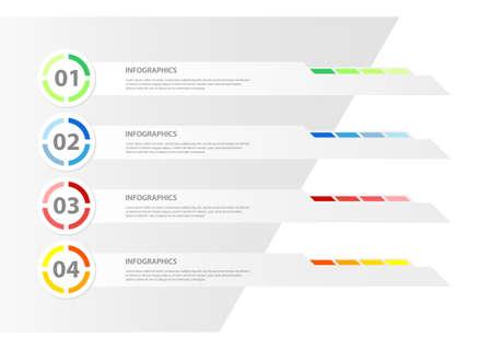 モダンなデザインのインフォ グラフィック テンプレートことができますインフォ グラフィックの使用バナーの番号水平行のカットアウトベクト