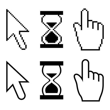 Pixel cursors set Illustration