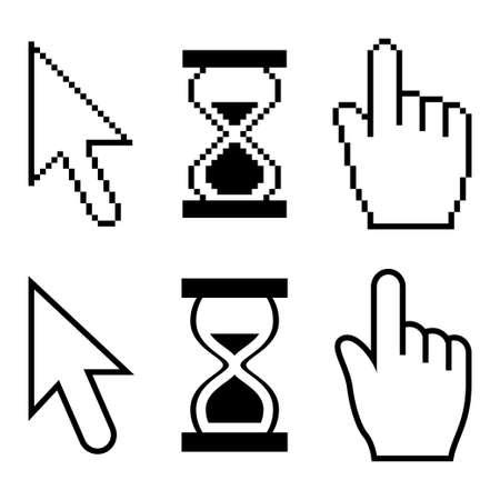 Pixel cursors set Ilustração