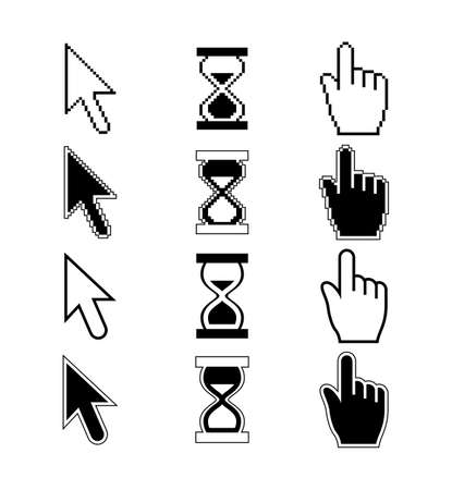 Pixel Cursors Icons - Hand Cursor Mouse Pointer Hourglass