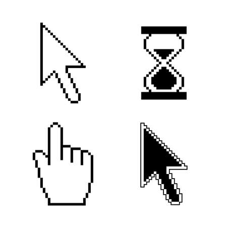 Pixel cursor iconen Stock Illustratie