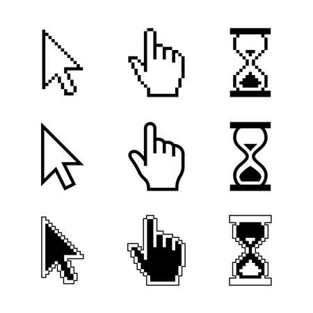 white pointer: Pixel cursors icons - mouse cursor hand pointer hourglass. Vector illustration.
