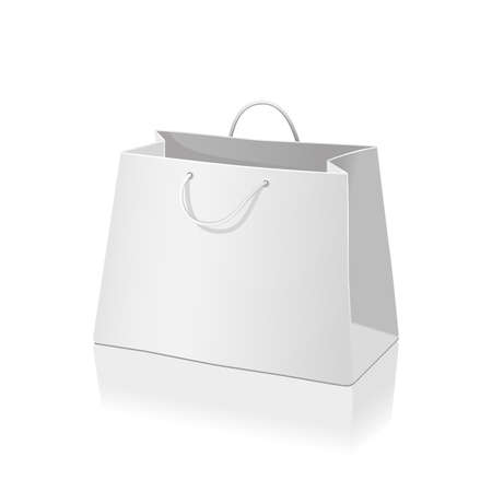 Empty paper shopping bag isolated on white Illustration