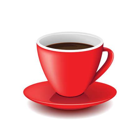 赤コーヒー カップ  イラスト・ベクター素材