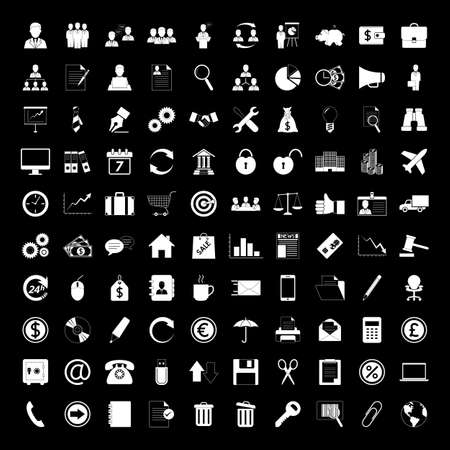 Business icons set: human resource, finance and office