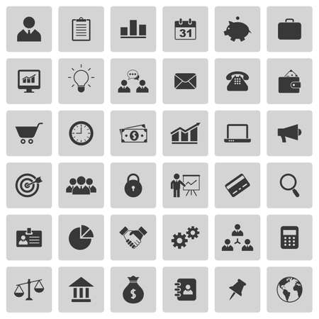 Business icons set. Vector illustration Çizim