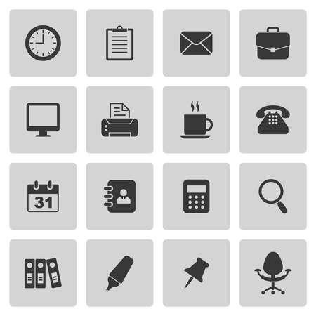 Bureau pictogrammen instellen op grijs. Vector illustratie Stock Illustratie