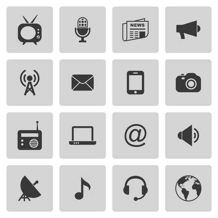 Media pictogrammen instellen op grijs. Vector illustratie