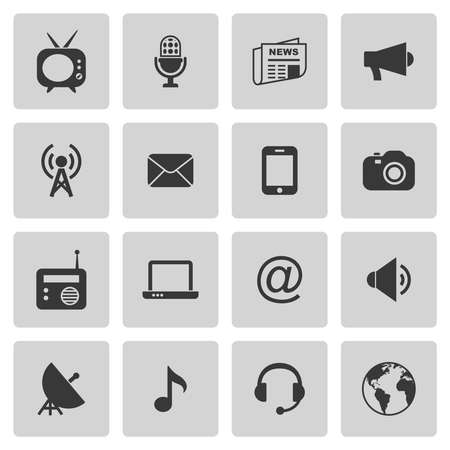 Media icons set on gray. Vector illustration